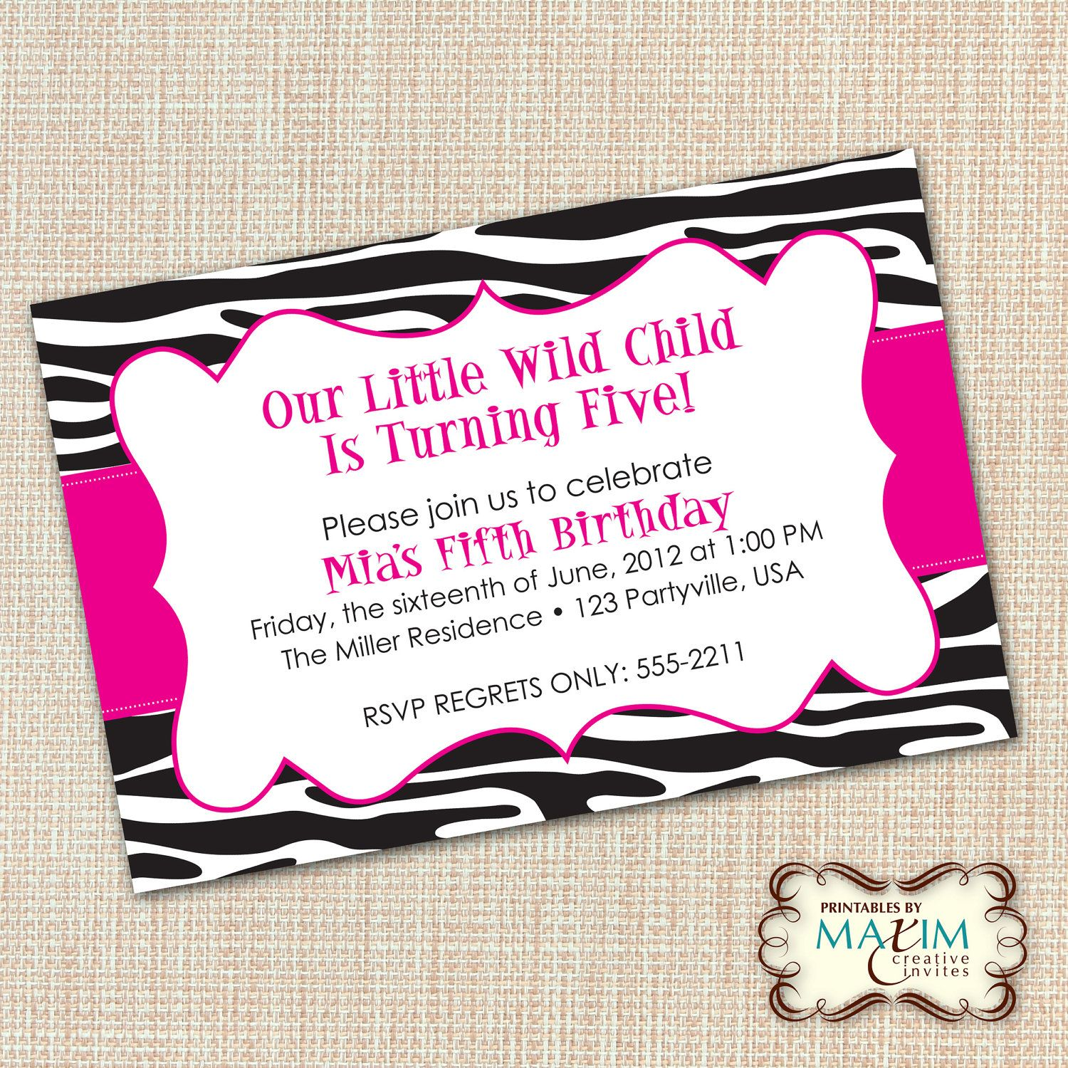 DIY Printable Invitation - Zebra Invitation, Zebra Birthday ...