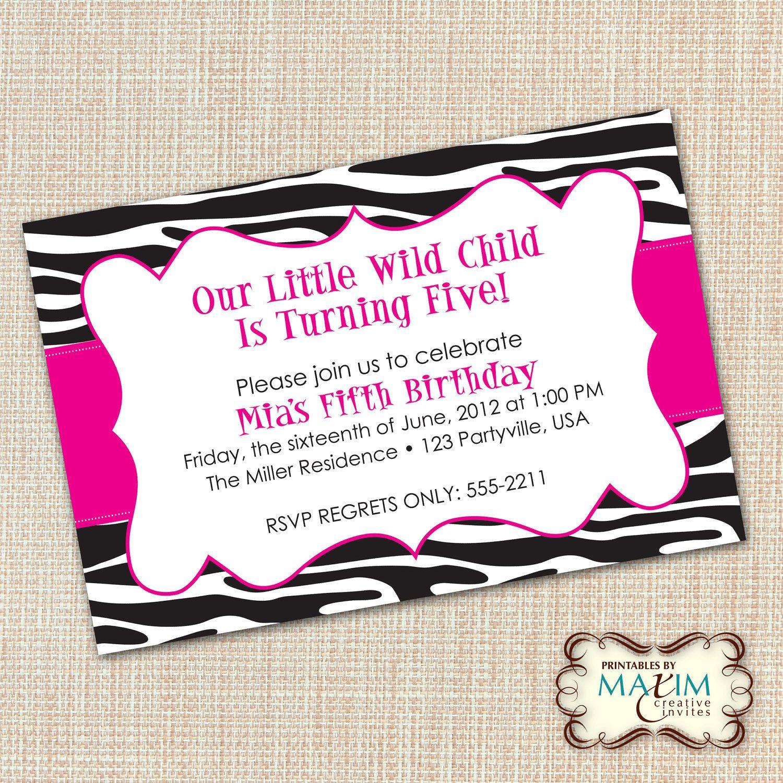 DIY Printable Invitation - Zebra Invitation, Zebra Birthday ...