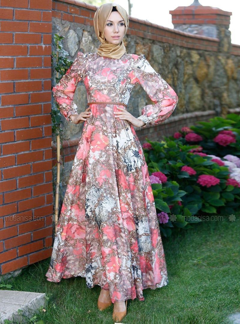 Cicek Desenli Dress Klos Pinar Aksam Tunics Modanisa The Dress Moda Stilleri Elbise