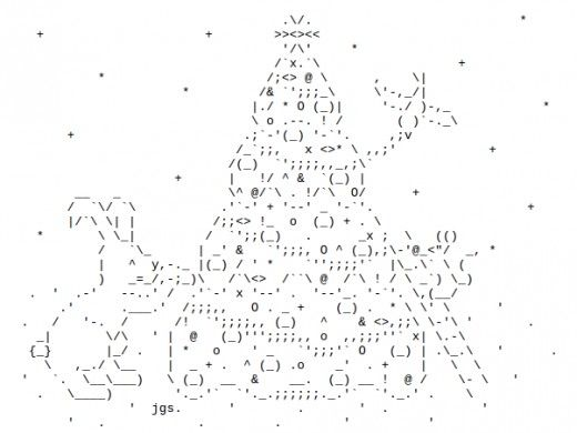 Ascii Christmas Tree Noel Et Nouvel An One Line Ascii Art Text Art Ascii Art
