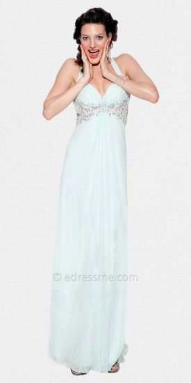 Sheer Midriff Halter Mint Green Prom Dresses by LM Collection