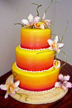 tequila sunrise cake would prefer frangipani flowers on this one