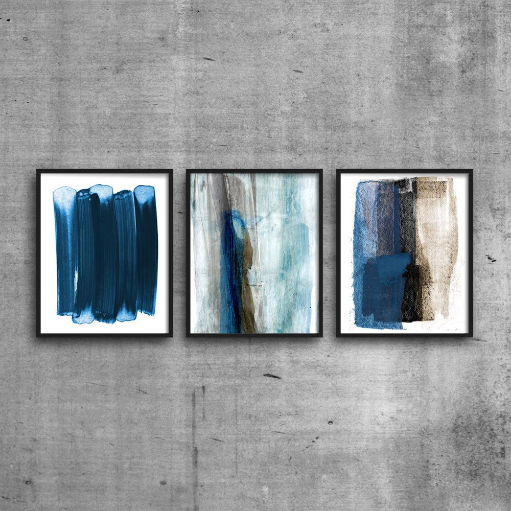 Blue Abstract Painting Print Set Large Wall Art Modern Abstract