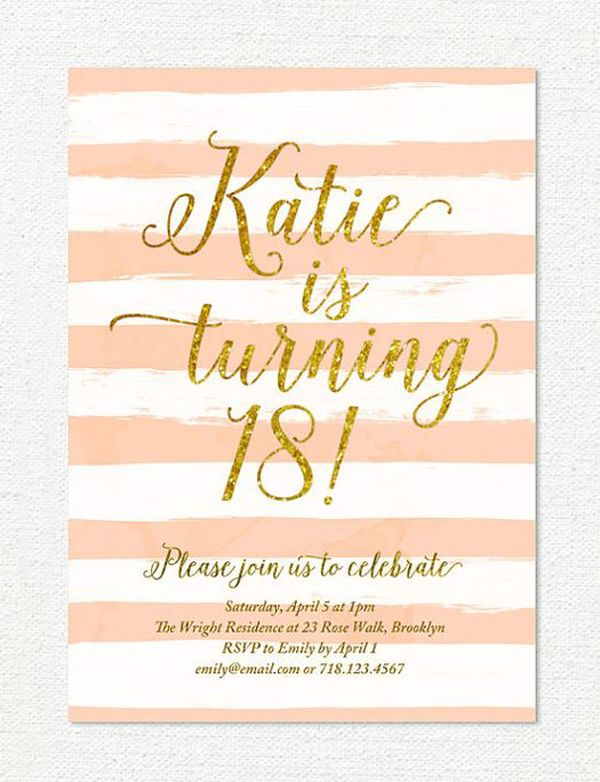 13th birthday invitation for girl, pink gold teen birthday party - free birthday party invitation templates for word