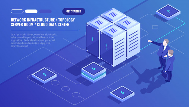 Network Infrastructure Server Room Topology Cloud Data Center Two Businessman Vector Free Download In 2020 Cloud Data Network Infrastructure Server Room
