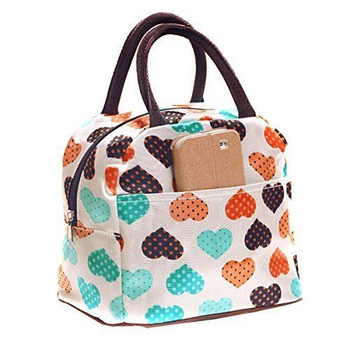 Bags R Us Cute Love Heart Lunch Bag Tote Bag Lunch Organizer Lunch Holder Lunch Container Pink * You can get more details by clicking on the image. Note:It is Affiliate Link to Amazon.
