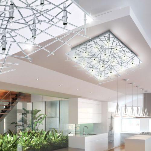 Decken Lampe Staebe Leuchte Silber IP20 Schlafzimmer Luester