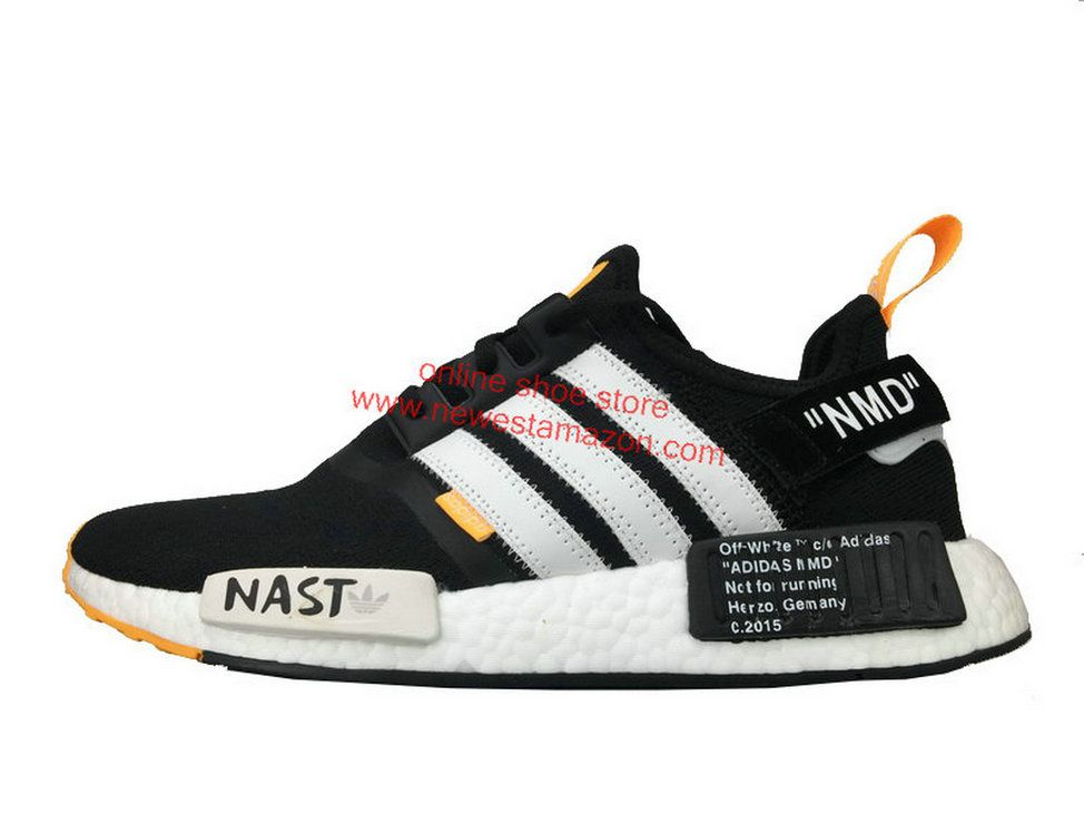 f1f95f067 Cheap Off White X Adidas NMD R1 Pk Black White Orange Shoe