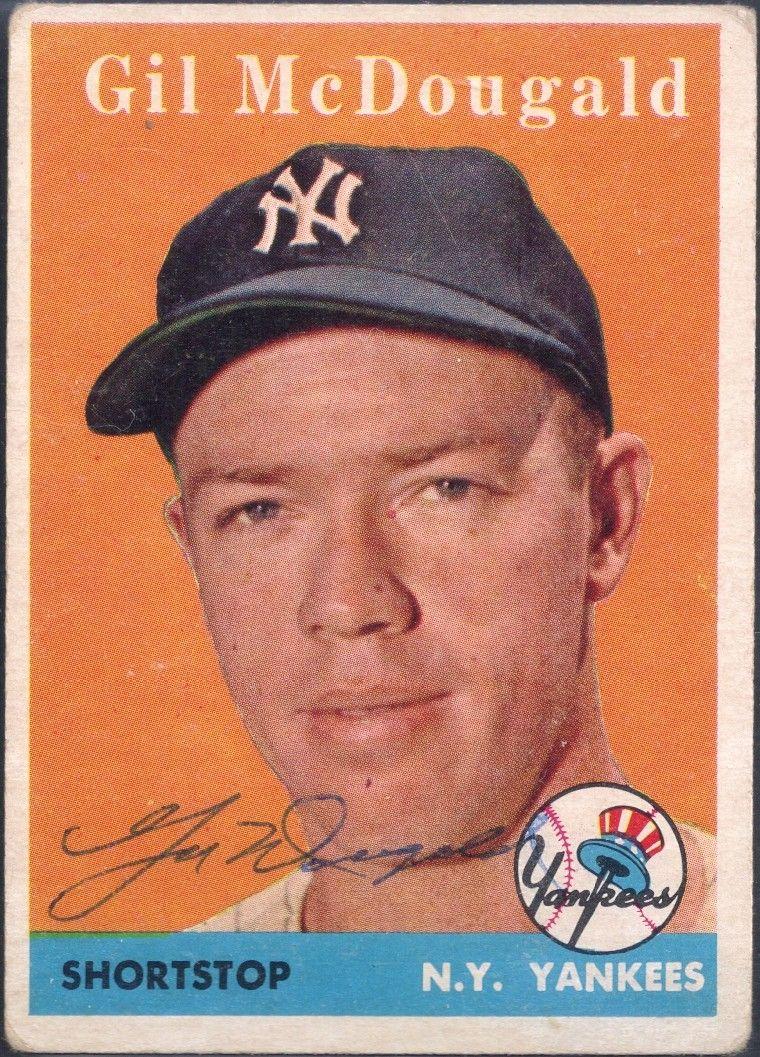 1958 topps gil mcdougald autograph baseball cards