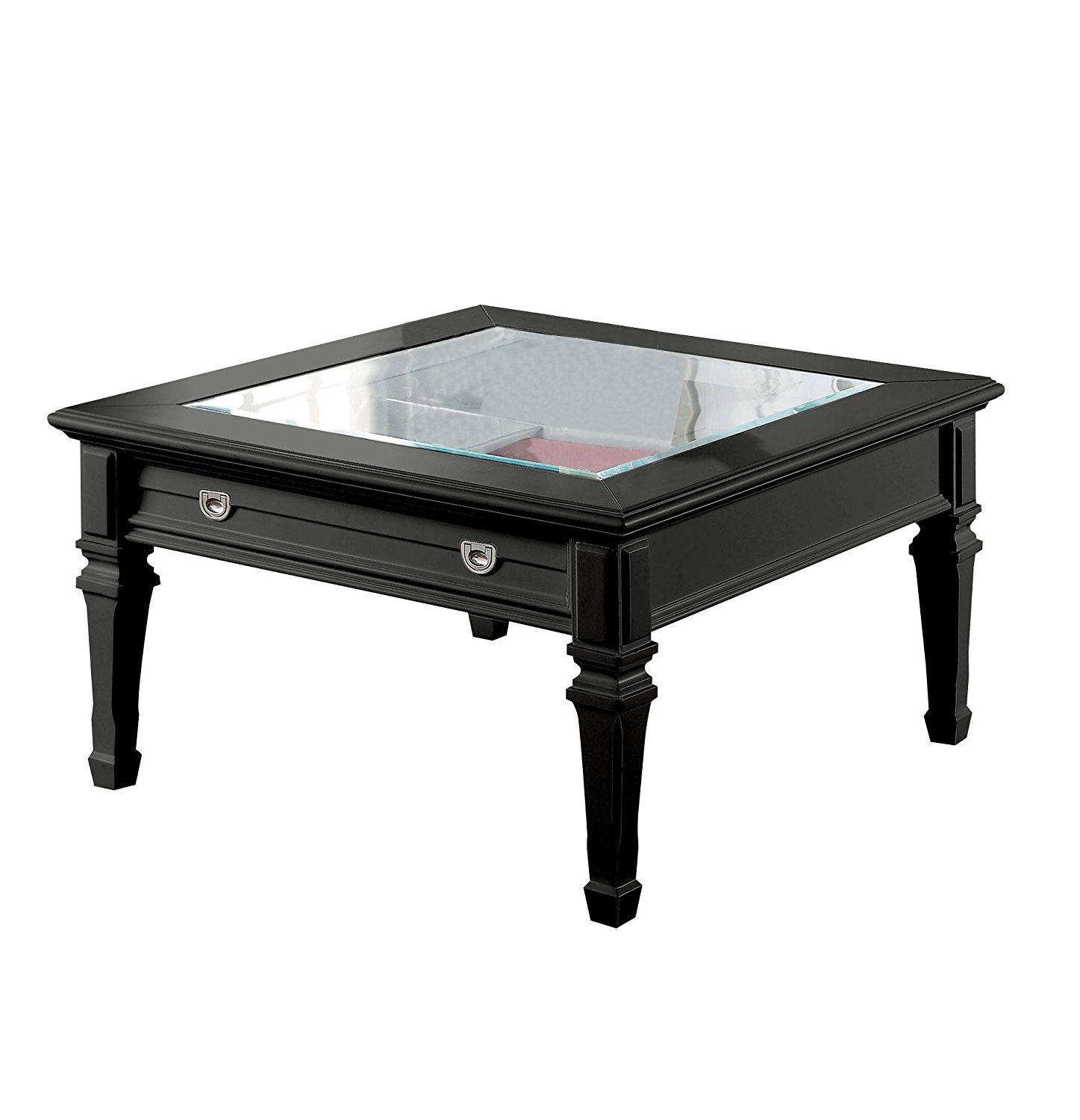 Amazon Com Acme Adalyn Black Coffee Table With Display Glass Top