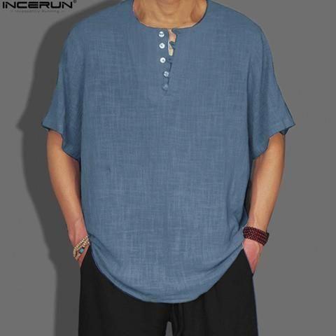 5104789befd2 Summer Mens Shirt Linen Cotton Man Clothes 2018 Solid Flax Men s Short  Sleeve Shirt Loose Chinese Shirt Men camisa masculina 3XL  MensT-shirts