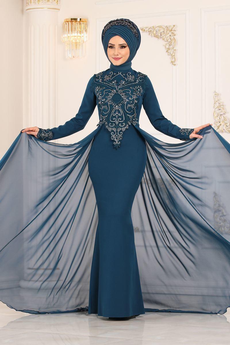 Modaselvim Abiye Sifon Pelerinli Balik Abiye Alm52730 Petrol Aksamustu Giysileri The Dress Kiyafet