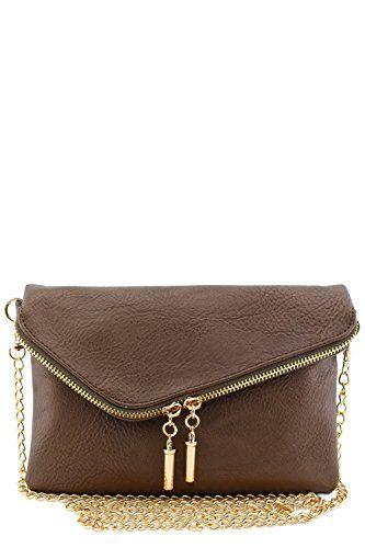 Envelope Wristlet Clutch Crossbody Bag with Chain Strap (Bronze) - http://leather-handbags-shop.com/envelope-wristlet-clutch-crossbody-bag-with-chain-strap-bronze/