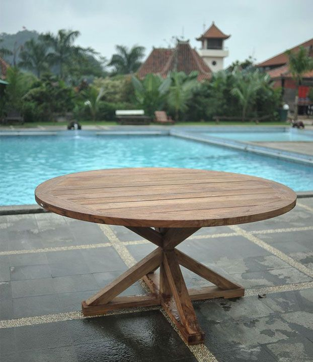 Round Teak Garden Table Made From Reclaimed Teakwood Garden