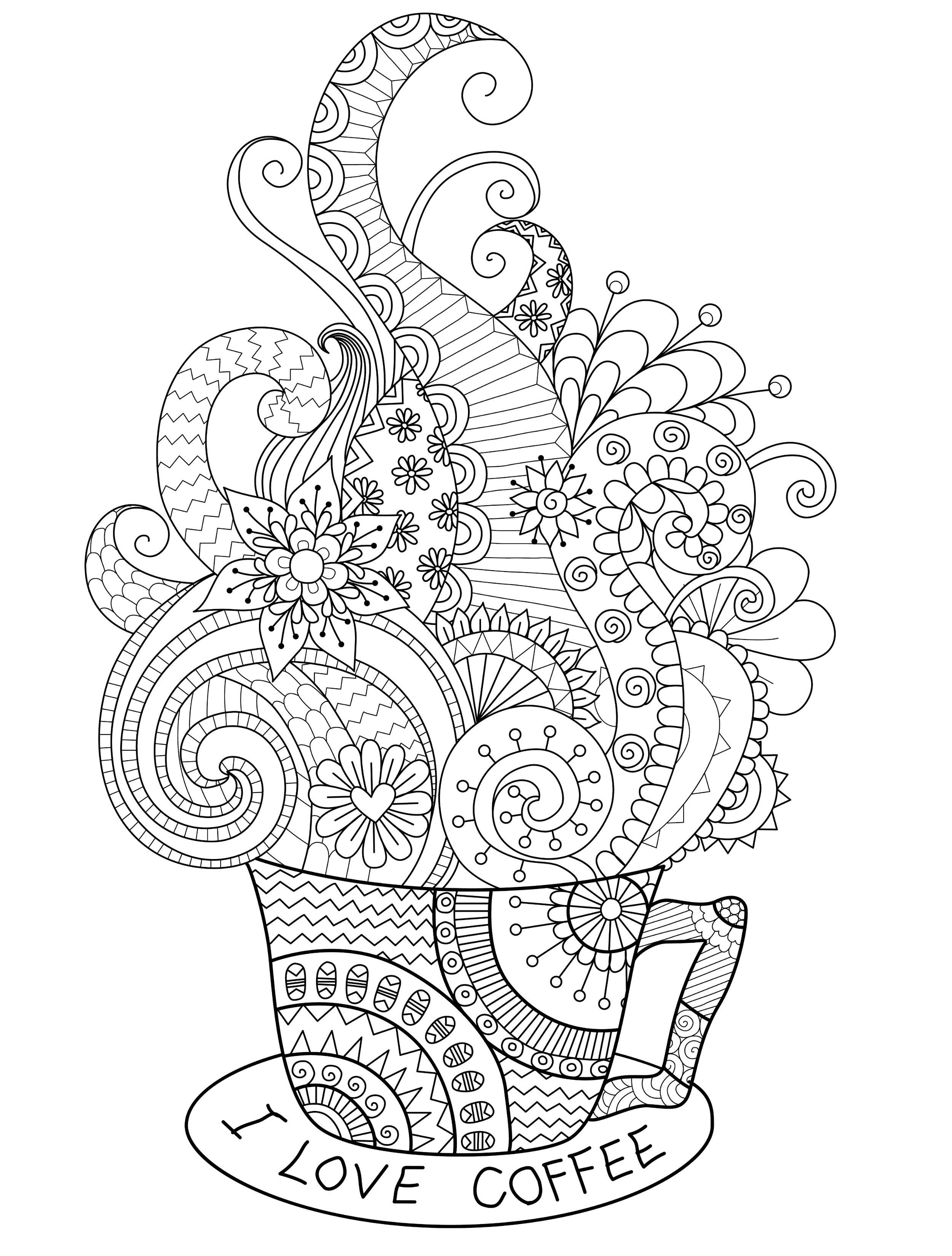 I love coffee adult coloring page you can print for free