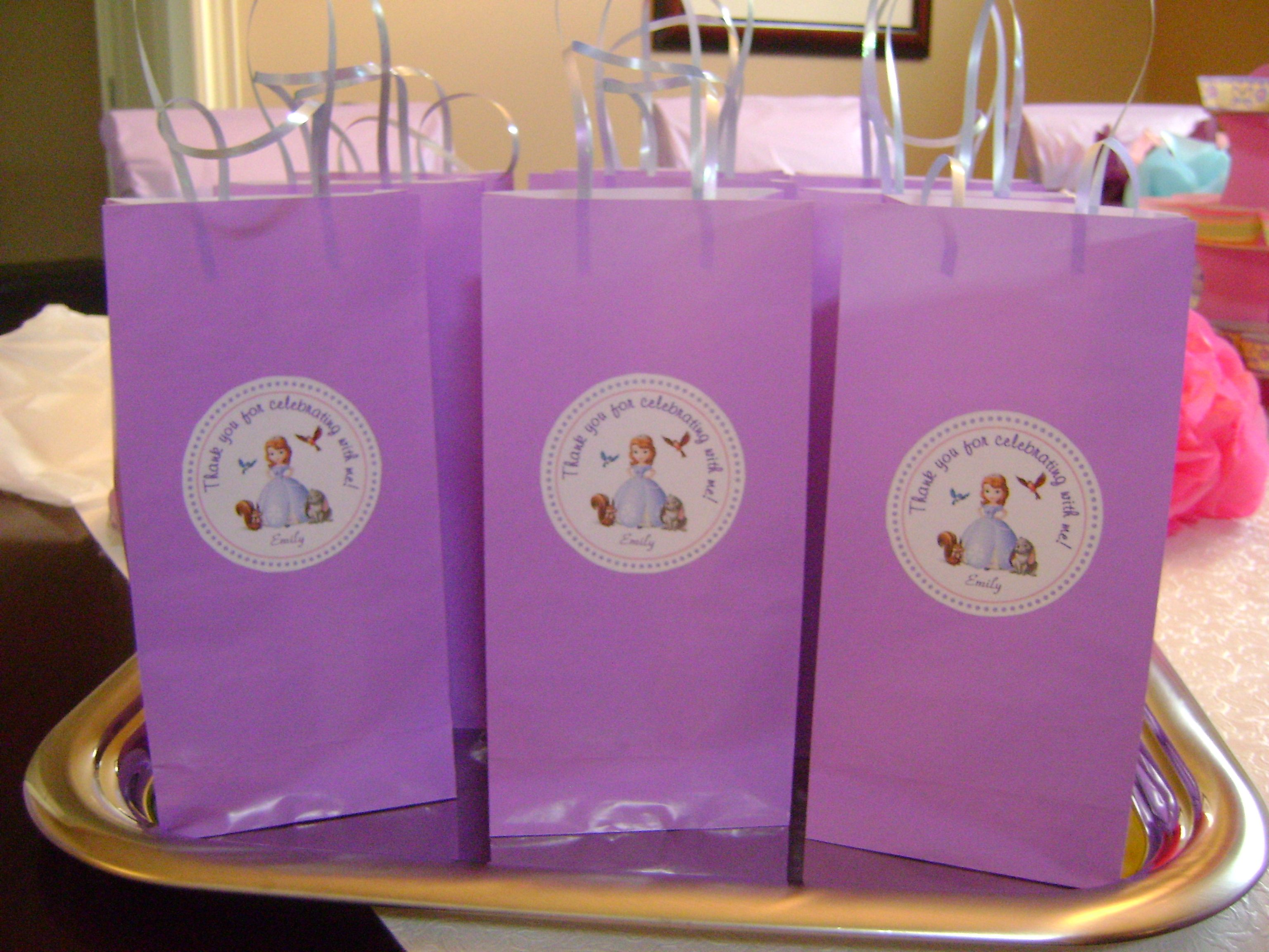 Sofia the first birthday party diy loot gift bags sofia for 1st birthday decoration packs