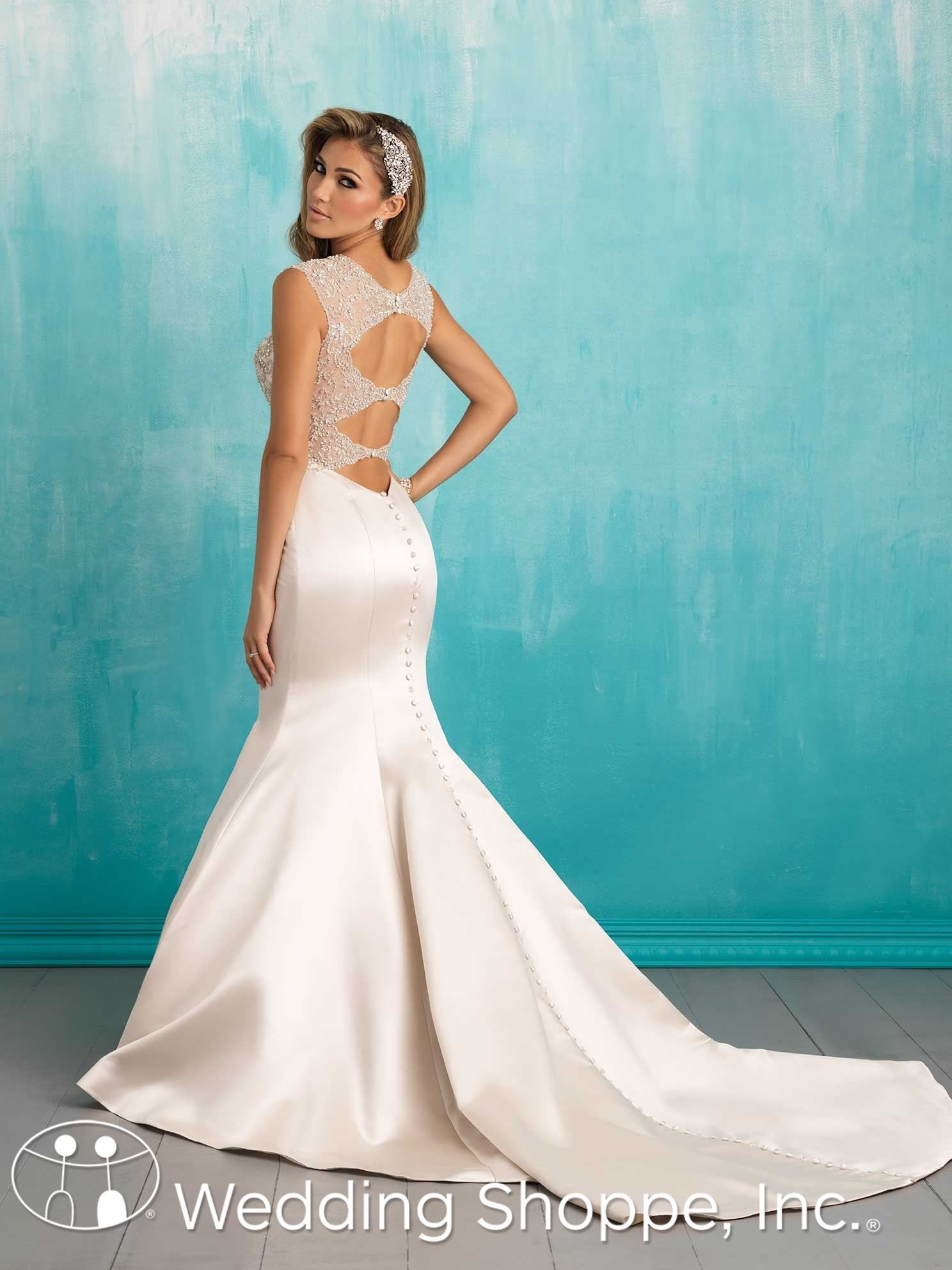 Allure Bridal Gown 9306: Satin fit and flare with beaded keyhole ...