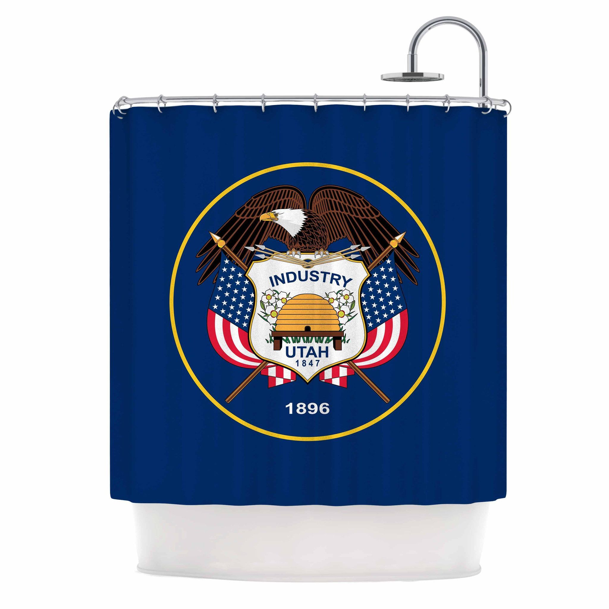 """Bruce Stanfield """"Utah State Flag Authentic"""" Blue Red Shower Curtain"""