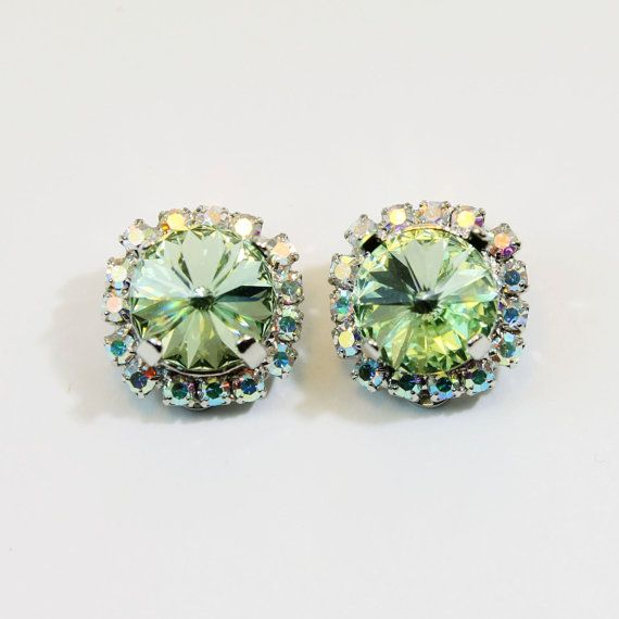 Mint Green Clip On Earrings Light Green Bright AB by TIMATIBO, $34.00