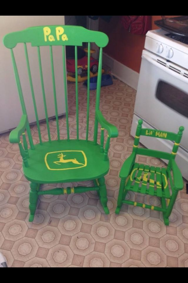 Beau DIY: John Deere Rocking Chairs I Hand Painted