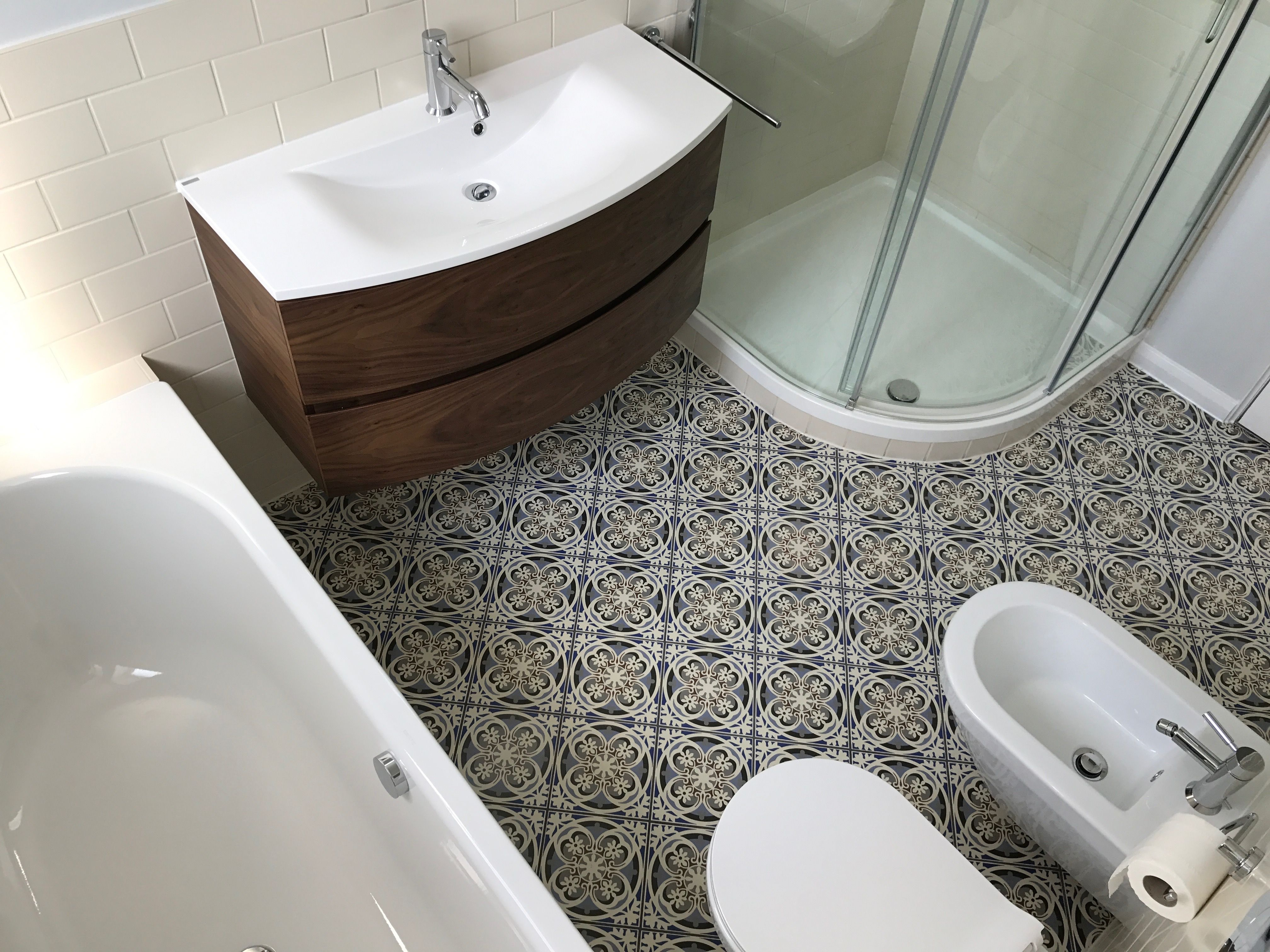 Fired Earth Abbey Fountains tiles on bathroom floor and Architecture cream  Matt tiles on walls