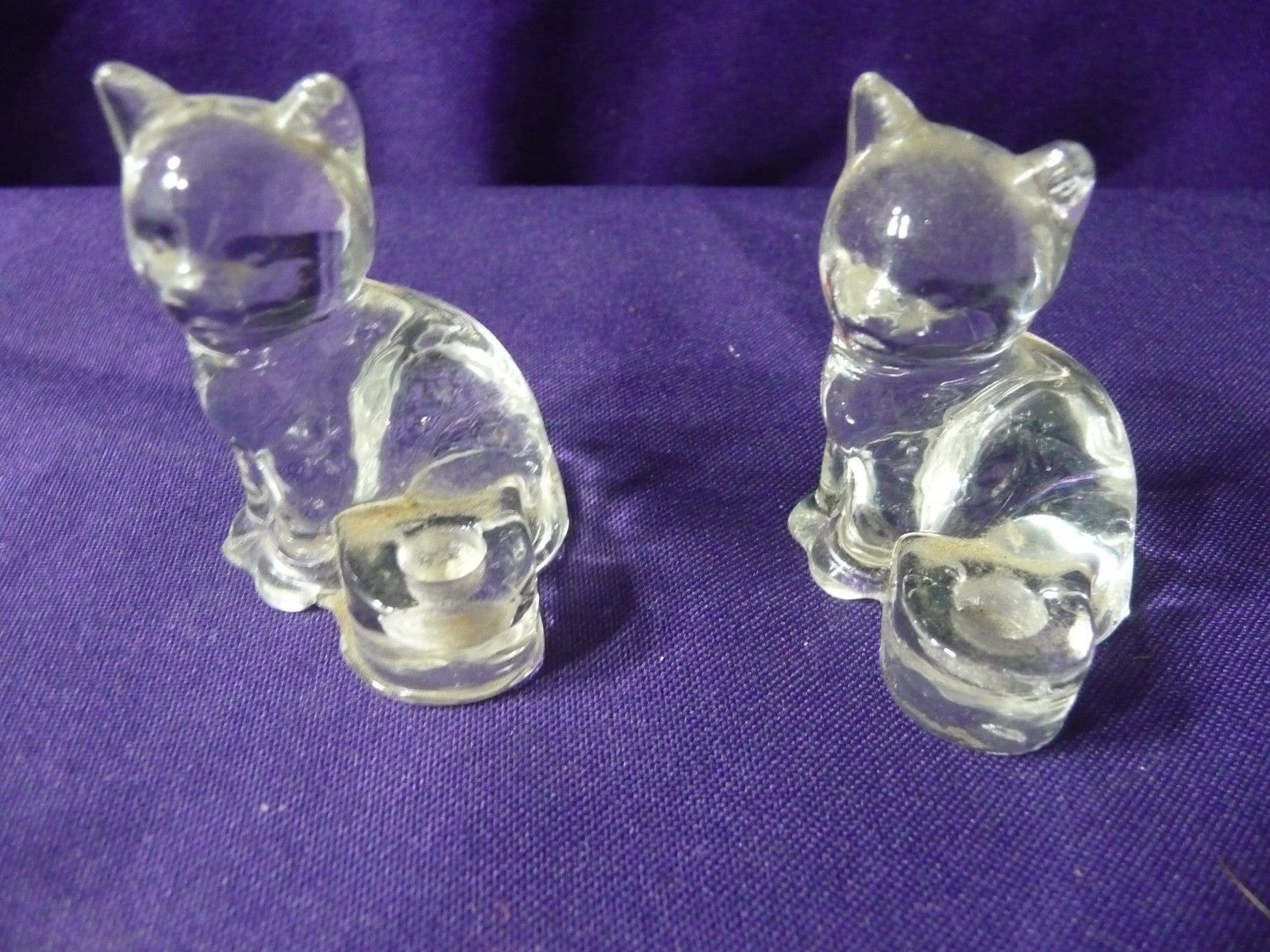 """Candle Holder Cats Clear Glass Biedermann 1.5"""" x 2"""" Set Lot of 2 