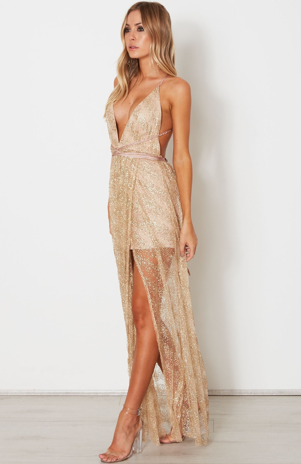 5407cd3a4f7 Akela Glitter Maxi Dress Gold