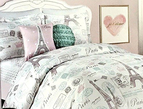 4-Piece Paris Eiffel Tower Twin Comforter Set Pink Aqua G ...