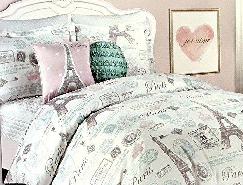 4 Piece Paris Eiffel Tower Twin Comforter Set Pink Aqua G