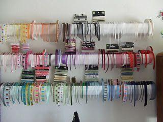 Rain Gutter Ribbon Storage Craft Room Ribbon Storage