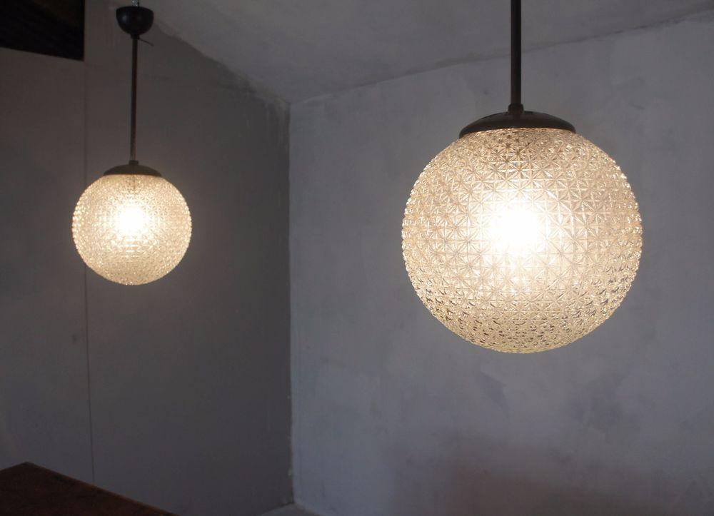 Pair Of Midcentury Glass And Bakelite Holophane Globe Pendant Lights - Kitchen pendant lighting ebay