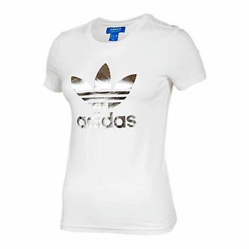 Adidas Originals Silver Trefoil Girls Womens Cotton T-Shirt ...