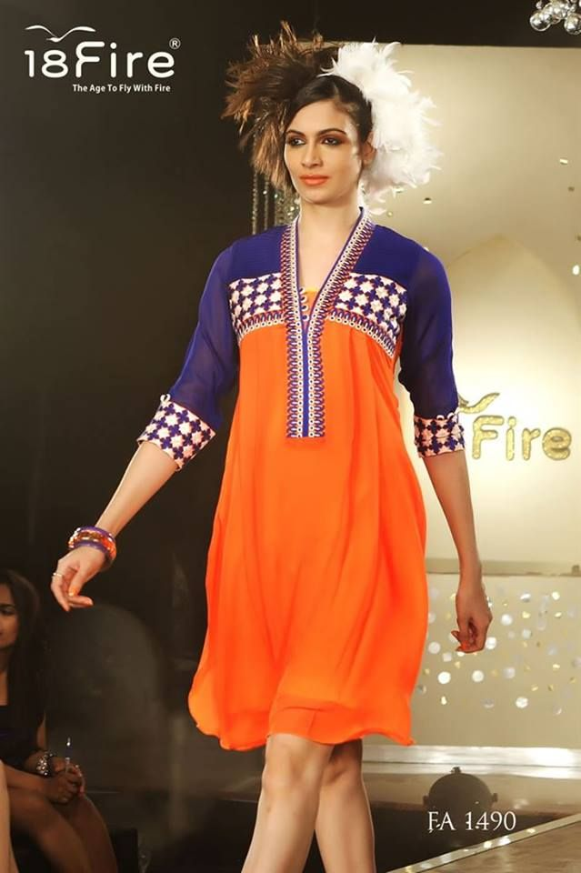 Get a tangy touch with this printed long party wear kurti..!!  Book here: http://bit.ly/Orange-Blue-Kurti  PRODUCT CODE : FA1490, Fabric:Chanderi Cotton