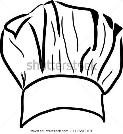 stock vector chef hat vector line drawing line