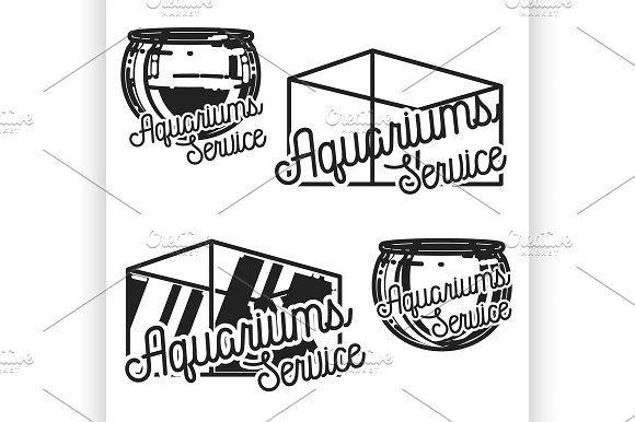 aquariums service emblems by Netkoff on @creativemarket