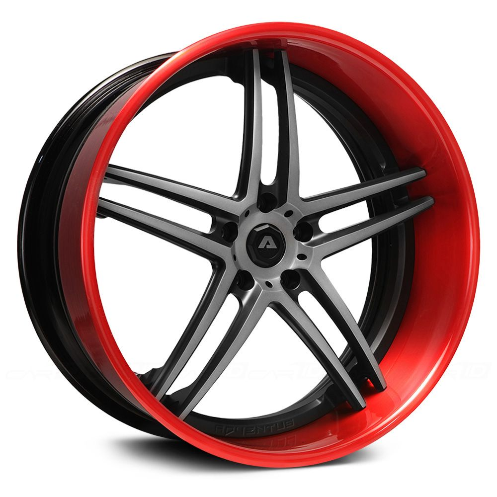 Adventus Forged Str V4 Split 5 Star Wheels Red And Grey Perimeter Hardware  Is On The Back. Black Bolt Rivets.