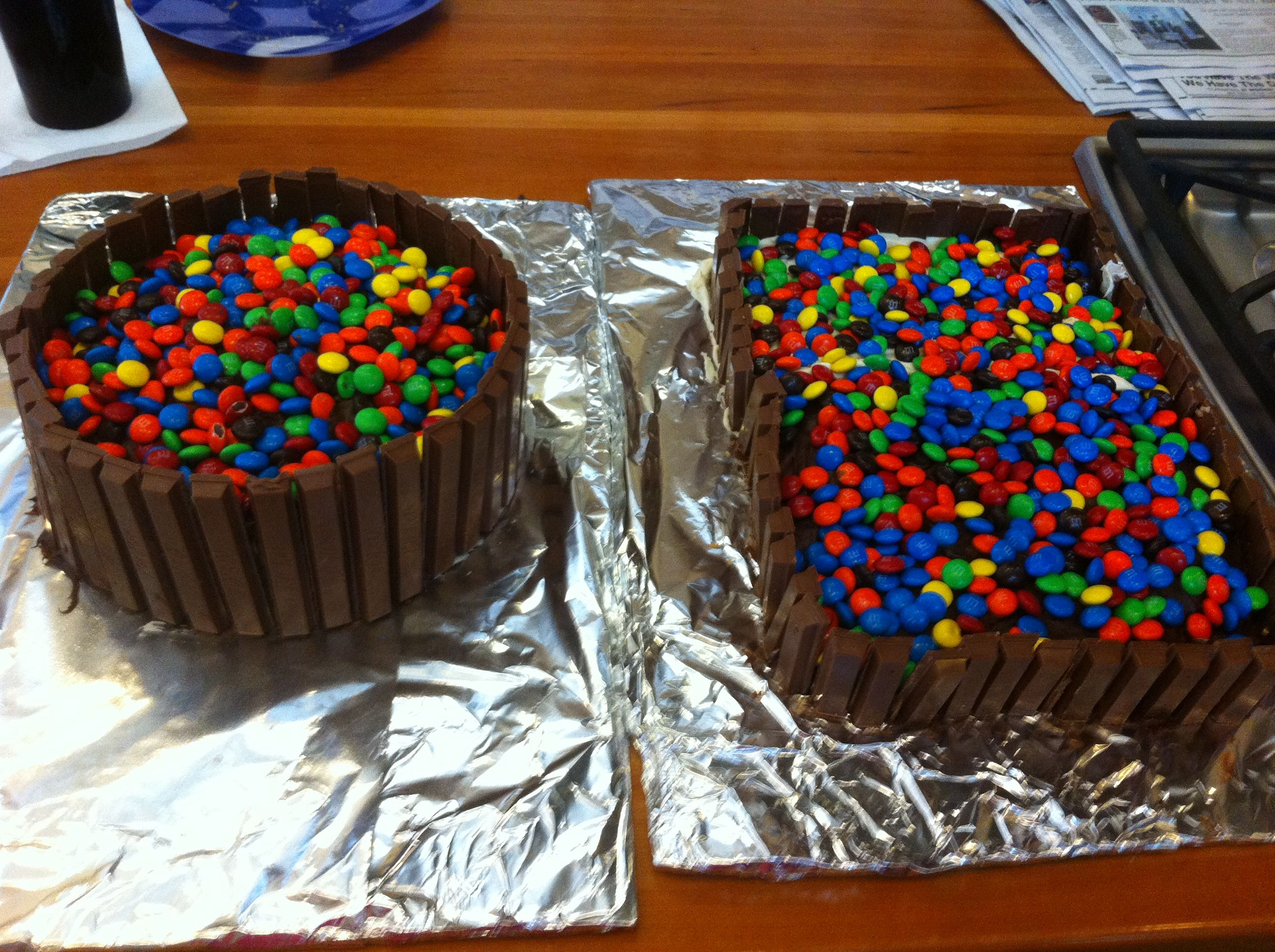 Pinterest Kit Kat Cakes. The Second One Is Just A Sheet Cake & I Cut Kit Kats In Half.