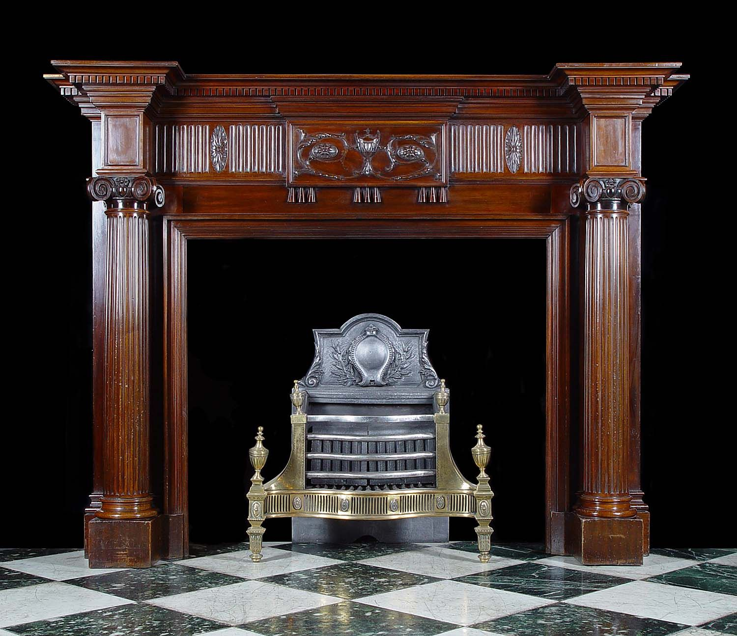 antique georgian mahogany adam revival fireplace mantel - Antique Fireplace Mantels