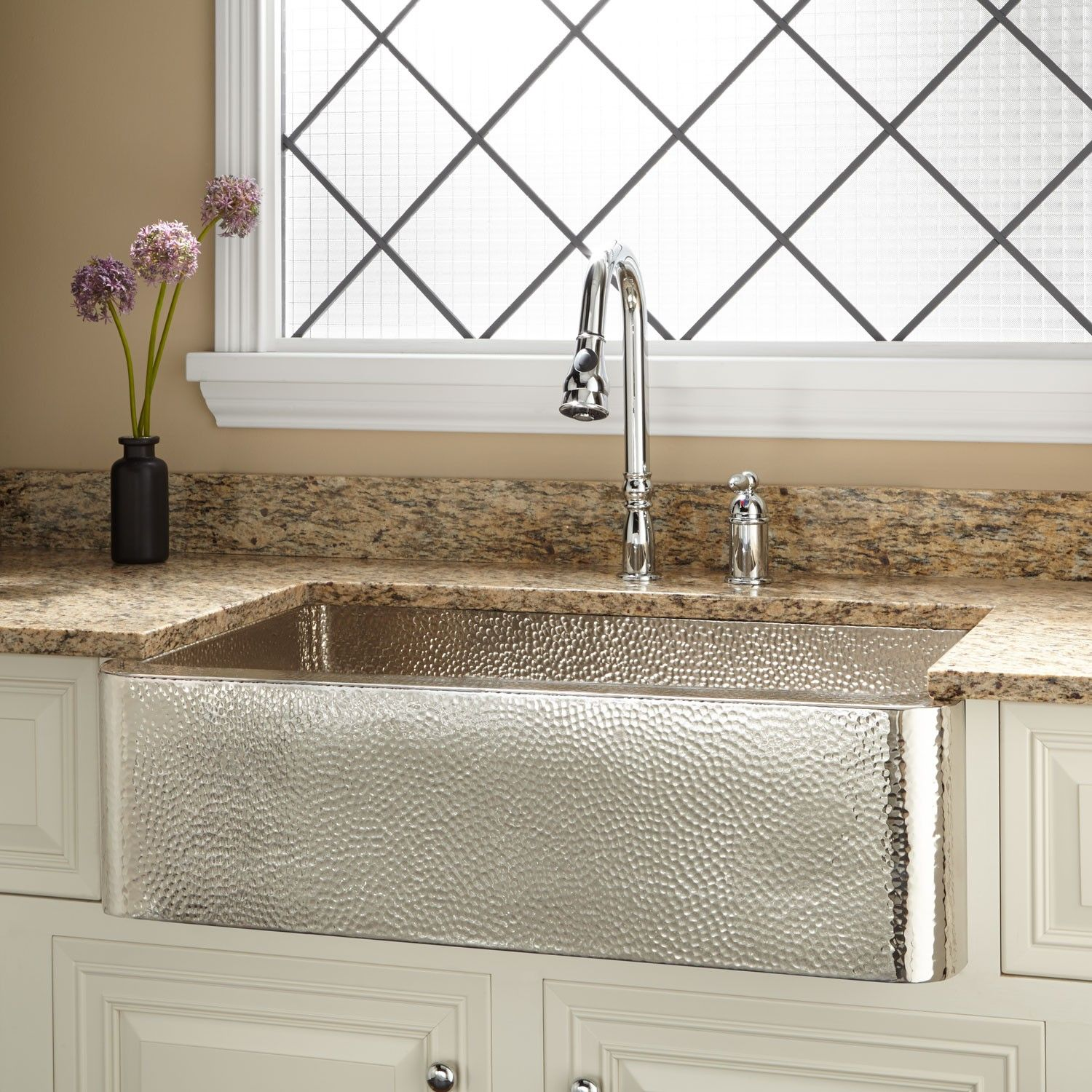 Farm Sinks For Kitchens Nickel Plated Hammered