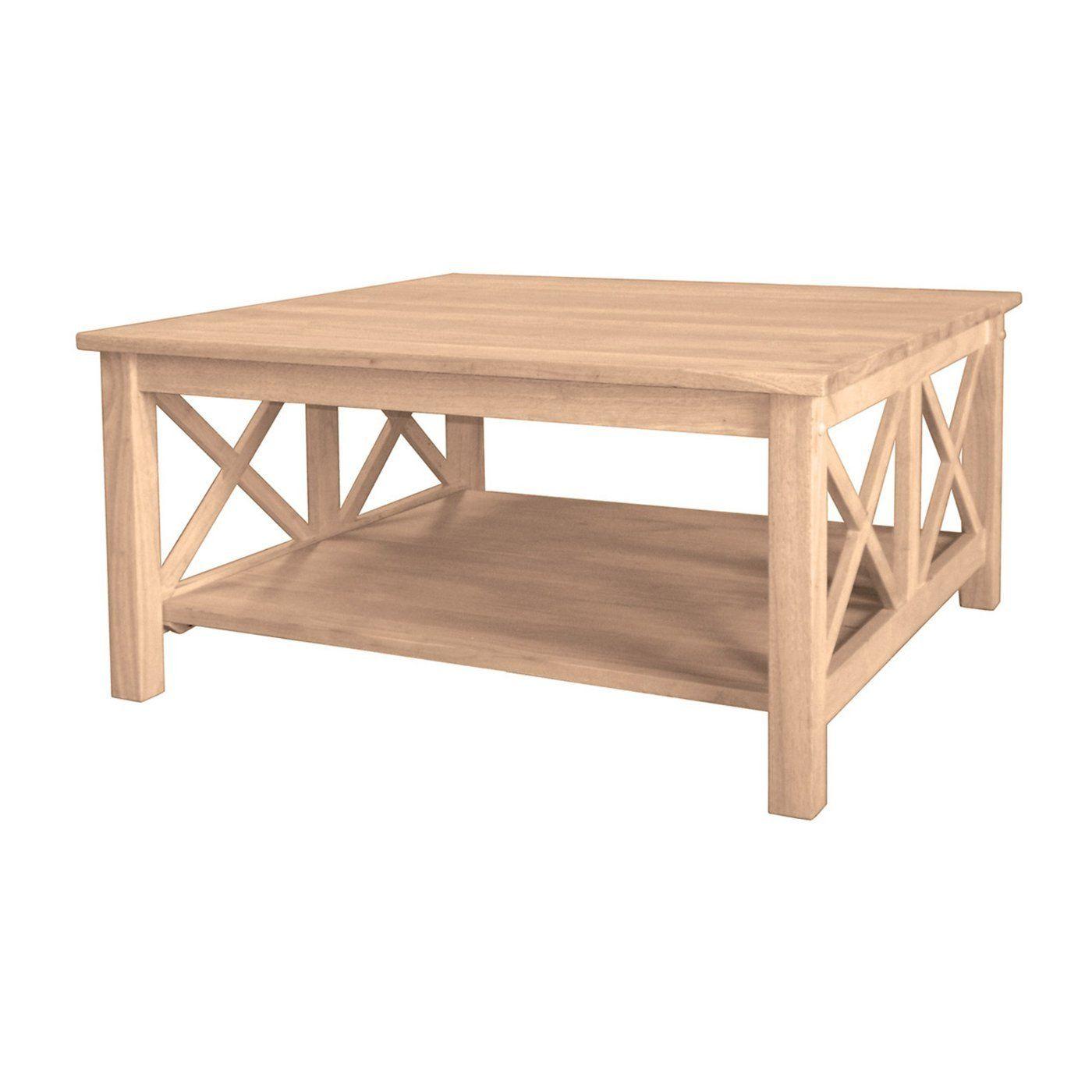 "Hampton Square Hardwood Coffee Table 36"" Finished Options"