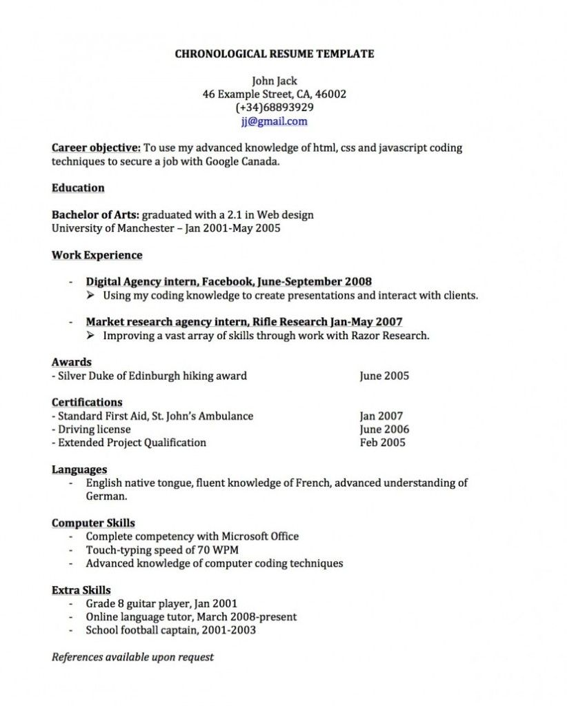 Professional Resume Example Free Chronological Templates
