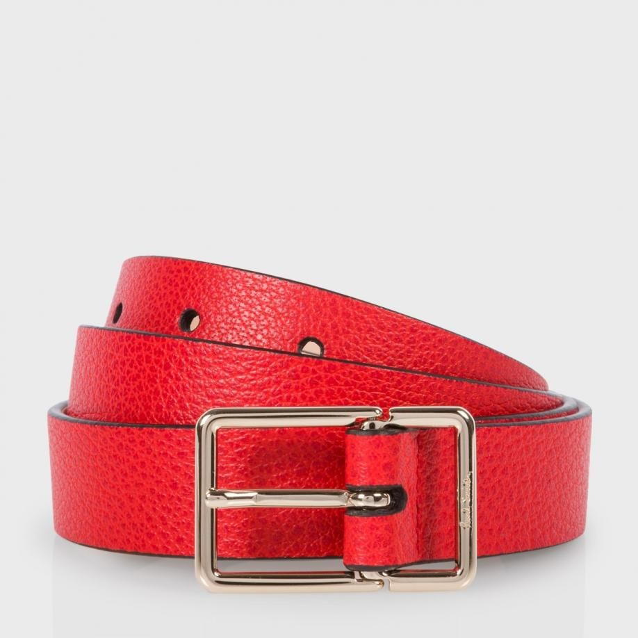 20cc3a66fd024 Men s Red Leather Integrated Keeper Suit Belt