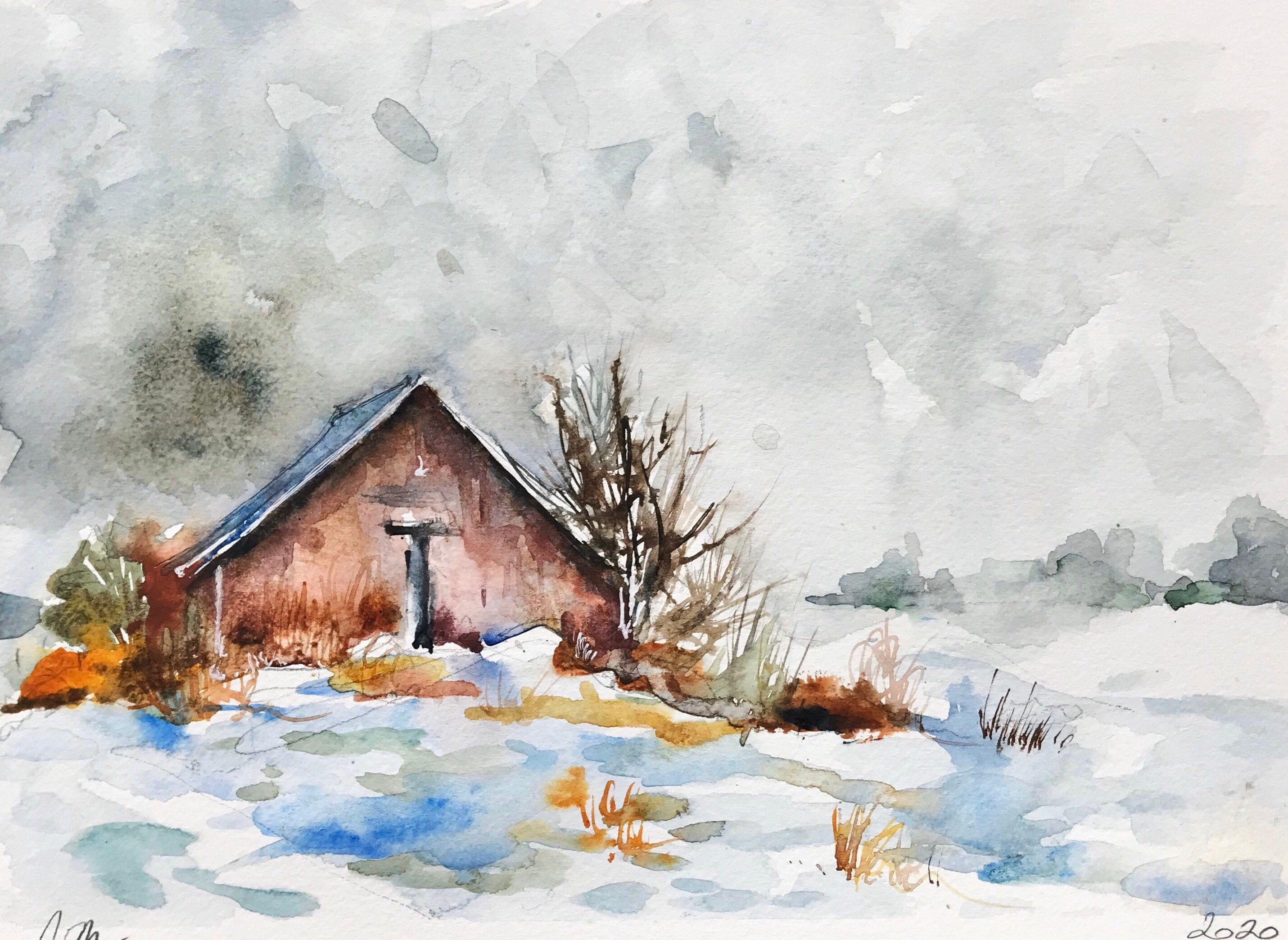 Aquarelle Peinture Originale Vieille Grange Sous La Neige En