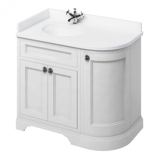 Burlington 100 Curved Lh 3 Door Vanity Unit And White Basin 1000mm Wide Matt White 0 Tap Hole In 2020 Vanity Units Corner Vanity Unit Corner Vanity