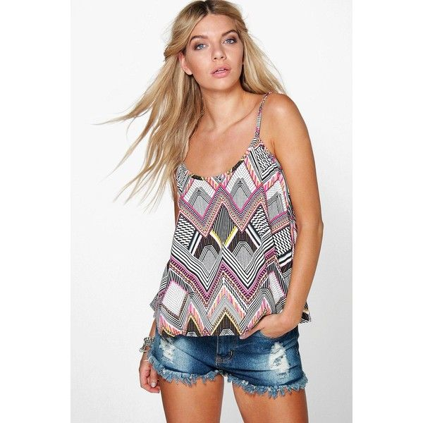 953033b82 Boohoo Lizzie Aztec Printed Swing Cami ( 14) ❤ liked on Polyvore featuring  tops