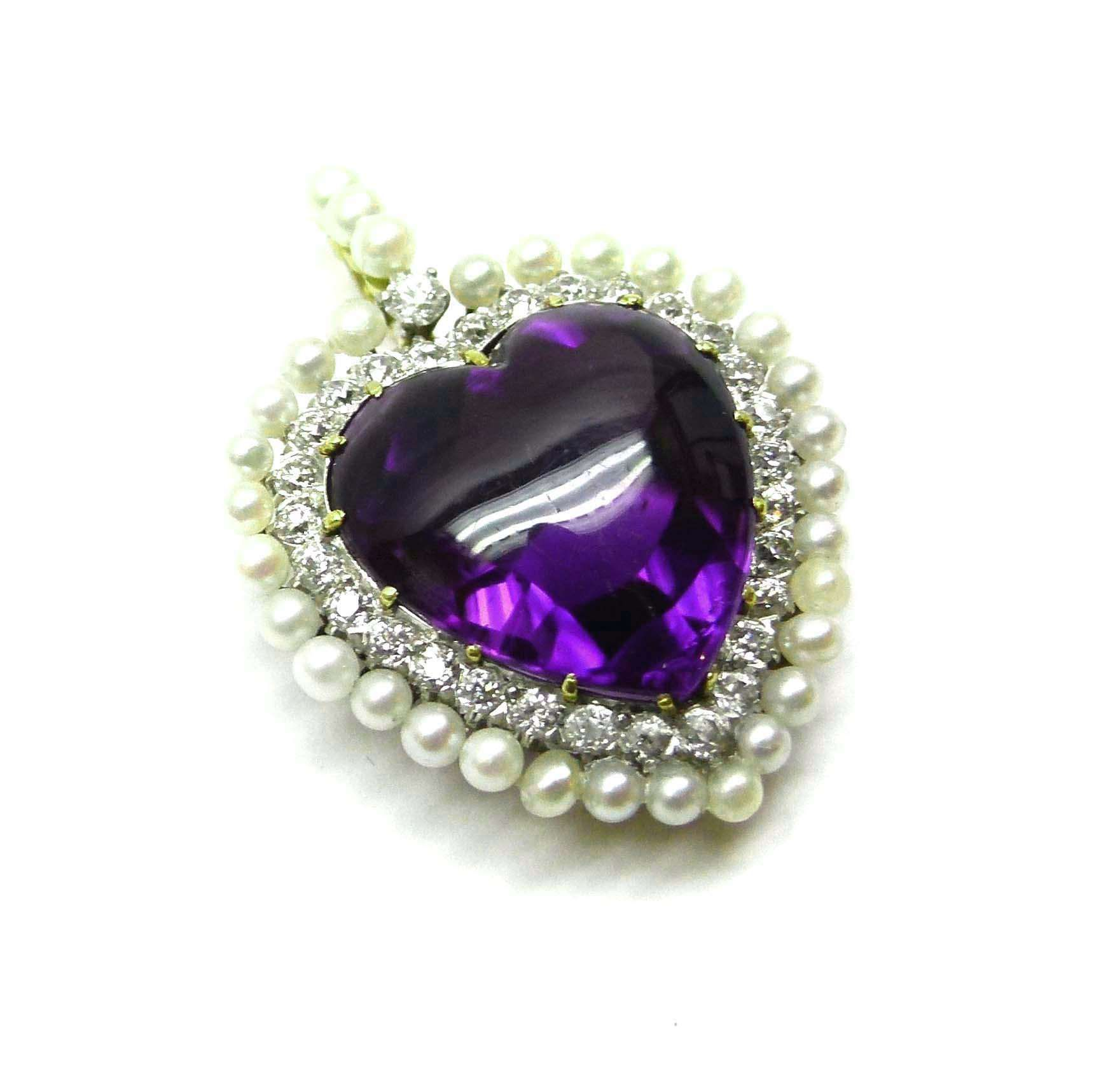 Late 19th century amethyst, pearl and diamond heart pendant, c.1895 , centred by a cabochon cut heart shaped amethyst, to a diamond set border and outer frame of seed pearls, from a seed pearl and diamond hoop, claw set