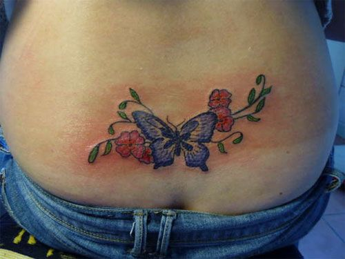 2ea547ae8 tiny rose and butterfly tattoo | 30 Pretty Back Tattoos For Girls |  CreativeFan