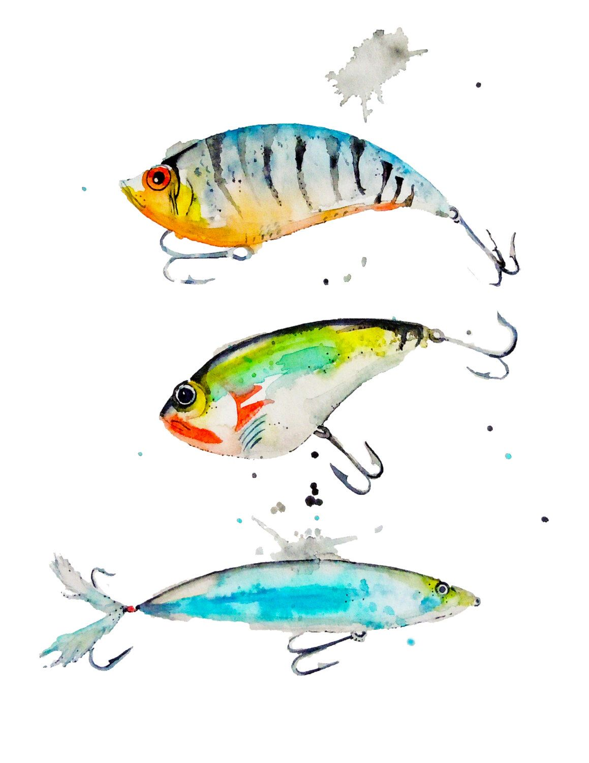 Watercolor Fishing Lures Art Print Giclee Boy S Room Cabin Art