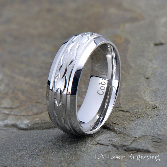 Brushed Finish Comfort Fit Classic Dome Cobalt Ring Band 8mm Cobalt Wedding Ring FREE ENGRAVING Mens Wedding Band