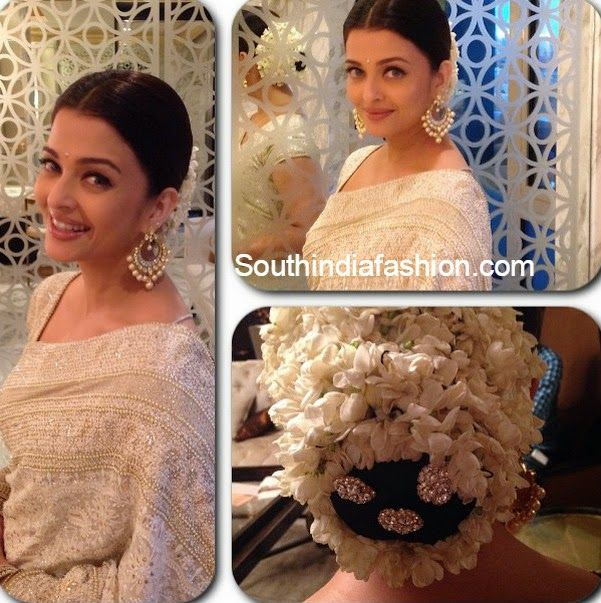 Aishwarya Rai In White Saree South India Fashion Aishwarya Rai Hairstyle Guest Hair White Saree